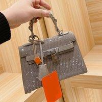 Handtaschen Frauen Messenger Bag Mode Geldbörse Full Bohrer Palmar Stria Cowhide Plain Hasp Diamante Dot Freies Verschiffen mit Kasten