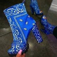 Botlar bandana boot kadın platformu yuvarlak peep toe iken ayak bileği katı yan fermuar tıknaz yüksek topuk kısa patiklar için ladies1