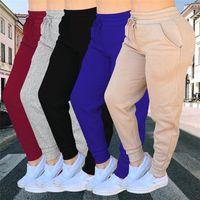 Women Drawstring Sweatpants Jogging Yoga Leggings Sport Pants Hip Hop Athletic Trousers Solid Color Casual Exercise Pencil Pant F110604