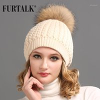 Furtalk الفراء الحقيقي قبعة كبيرة الراكون بوم بوم قبعة الكشمير الصوف bobble winter1