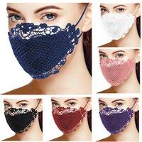 Moda mujer máscara cara de encaje ornamento a prueba de polvo anti-uv mascarillas de cara lavable algodón transpirable boca cubierta mujer máscara cara mascarilla 6 colores