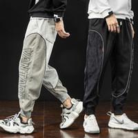 Calças masculinas moda japonesa casual homens cargas corduroy designer solto apto corredores harem calças streetwear sweppants