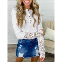 Elegant women Shirts Blouse Women Autumn Winter Hollow Lace Long Sleeve Buttons Slim Blouse Top Slim Pullovers top