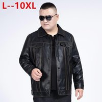 10XL 8XL 6XL 남성 자켓 가을 겨울 따뜻한 방풍 칼라 지퍼 가짜 가죽 오토바이 자켓 짧은 코트를 켜고 다운