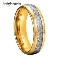6 millimetri di colore dell'oro / argenteo carburo di tungsteno Anelli Bianco Meteorite del tungsteno dell'intarsio fascia di cerimonia nuziale anello di fidanzamento Dome lucidato