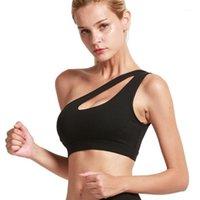 Roupas de ginásio ombro oblíquo mais tamanho esportivo sutiã para mulheres sujetador pecado aros tops mulheres1