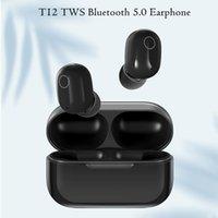 최신 T12 TWS 블루투스 5.0 이어폰 미니 무선 스포츠 헤드폰 이어폰 이어폰 헤드셋 더블 무선 이어 버드 무선 충전