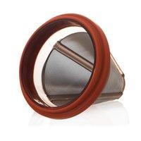 커피 필터 음식 콘 모양의 스테인레스 스틸 커피 Dripper 더블 벽 재사용 가능한 드리퍼 커피 메이커 바구니 부엌 도구 바다 PPC5227