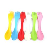 Plastic Spoon Fork Set di posate da viaggio Set di utensili da campeggio Spiacciatoio Combo Gadget Flatware Posate Posate Set Strumenti da pranzo 6pcs / Set
