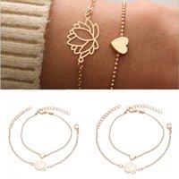 Aşk Kalp Şeklinde Kadınlar Bilezik Takı Lotus Moda Lady Kaplama Altın Bilezikler Oymak Yeni Desen 1 1HY J2B