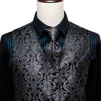 Привет-Tie Роскошный черный Paisely для мужчин костюма Классическая свадебная вечеринка Мужская шелковый галстук жилет Платок Запонки Комплект Жилет