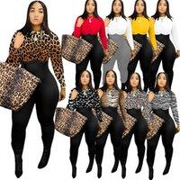 La manga larga de las mujeres del mameluco de diseño del mono Pantalones Leopard Colores sólidos flaco Bodysuit Pullover blusa polainas En general ropa nueva F110601