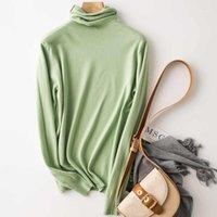 Женские свитеры Sherhure 2021 осень с длинным рукавом Turtleneck Женщины Чистый цвет свитер и пуловеры Pull Pull Femme Tricot Tops1