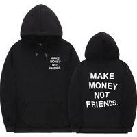 Streetwear gana dinero no amigos con capucha hombres / mujeres moda impresión pareja ropa sudadera hombre negro blanco sudadera con capucha x1021