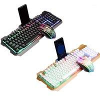 키보드 마우스 콤보 유선 게임 콤보 세트 다채로운 LED 백라이트 컴퓨터 Keyboad1