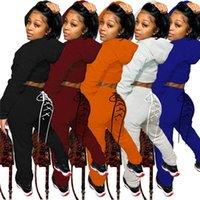Kadın Eşofman İki Parçalı Set Kadın Sweatitor Güz Giyim Eşofman Kapşonlu Üst Lace Up Geri Pantolon Kıyafet Toptan Bırak