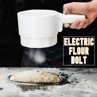 Электрическая мука сито болта батареи эксплуатируемая батарея Plastic Plast Cup Form механическая ручная шейкер мука сито для выпечки инструмент белый T200323