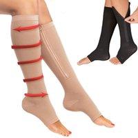 Fermuar Sıkıştırma Stok Nefes Kullanılabilir Kol Destek Çorap Erkekler Kadınlar Için Brace Çorap Naylon Diz SobaPipe Açık Burun Uzun Çorap Açık