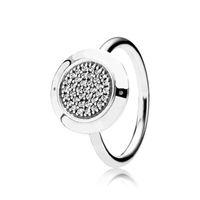 925 Sterling Silver CZ Diamond Disc Wedding Ring Women Gift Jewelry for Pandora Signature Pave Ring Original Box set 43 O2