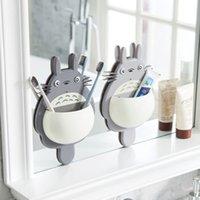 Linda Totoro titular del cepillo de dientes del lechón de montaje en pared colgante de la historieta Totoro succión cepillo de dientes titular de la caja de almacenamiento Suministros para Baños GGD2727