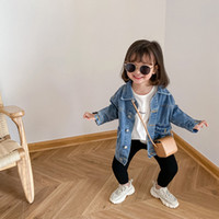 Moda crianças jaqueta jaqueta meninas de algodão macio cowboy outwear crianças lapela lapela jeans jeans de breasted A4733