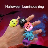 Halloween Luminous Ring Pumpkin Skull Head Novelty Gift Funny Party Finger Lamp Bat Ring Luminous Toy IIA840