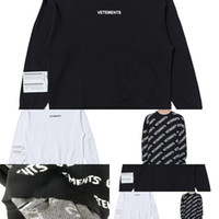 Vetements Siyah Allover Tişörtü 2020 Erkek Kadın Vetements Crewneck Hoodie ABD Boyutu Kalın Malzeme VTM Hoodies içinde Etiket Q1222