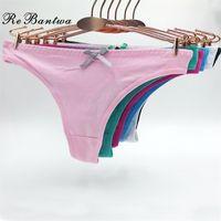Rebantwa 10 adetgrup Komik İç Kadınlar Için Seksi G Dize Külot Katı Renk Sevimli Thongs Knickers Ucuz Pamuk Külot 201112