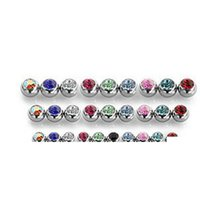 Tongue Ball Screw Gem Stone Crystal Stink Spark Stud Stud Sopracciglio Anello 316L Accessorio piercing in acciaio inox 1.6 * 6mm 1.2 * 3mm spedizione EUB9R