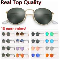 progettista Occhiali da sole donna occhiali da sole da uomo sunglsses reale UV lenti in vetro di protezione in metallo rotonda con custodia in pelle marrone o nero, accessori!