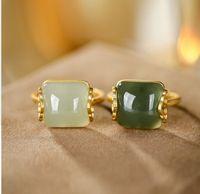 2pcs chaming Моды белой зеленый нефрит Простого ретро элегантность леди кольцо золота открытого размера