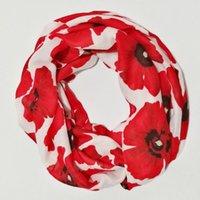 Atkılar Kırmızı Çiçek Eşarp Lüks Kadın Dimi Viskon Wrap Şal Moda Bayanlar Büyük Çiçek Döngü Sonsuzluk