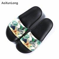 Aoxunlong Yaz Çiçek Terlik Kadın Kumaş Plaj Terlik Açık Kaymaz PVC Terlik Siyah AB Boyutu 36-40 Kadın Ayakkabı Sıcak