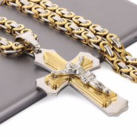 "Multilayer Cross Christ Jesus Pendant Necklace Stainless Steel Link Byzantine Chain Heavy Men Jewelry Gift 21.65"" 6mm MN78 LJ201007"