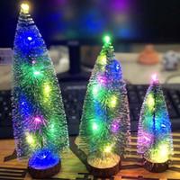 2020 عيد الميلاد الحلي مضيئة شجرة عيد الميلاد مع أضواء LED الارز سطح المكتب الحلي النافذة الصغيرة العرض زينة عيد الميلاد