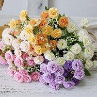 20 Köpfe Künstliche lila Blumen echte Berührung gefälschte Seidenblumen Hochzeit Holding Flores Bouquet für Hausgarten Dekoration Kranz1