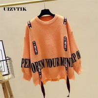 Casual Autumn Winter Knitted Sweater Women Fashion Distresse...