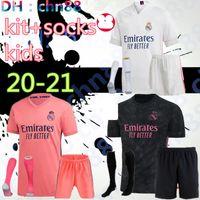 Kaleci Çocuklar 20 21 Gerçek Madrid Futbol Formaları 2020 2021 Tehlike Benzema Modric Isco Asensio Camiseta De Futbol Futbol Gömlek Kiti + Çorap