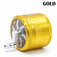 Hot Sell Tobacco Grinders 4 Layers Aluminum with Handle Multi Colors HIGH QUALITY 2.5 Inches Transparent Bottom Cover Herb Grinder