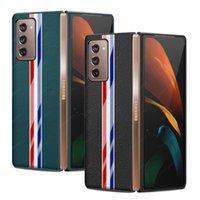 Moda Çizgili Desen Gerçek Deri Kapak For Galaxy Z Katlama 2 Gerçek Deri Darbeye Case Arka için Samsung Fold2 Coque