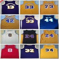 Retro Vintage Klasik Kareem 33 Abdul Jabbar Basketbol Formaları Mens Jerry 44 Batı 42 Worthy Wilt 13 Chamberlain Dennis 73 Rodman Jersey