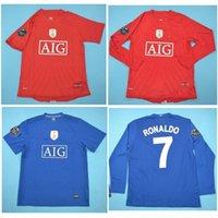 Top 08 09 manchester united Retro Camisas Clássico Vintage MAN UTD Ronaldo Scholes Jersey 2009 Camisa de Futebol Rooney Giggs maillot de foot