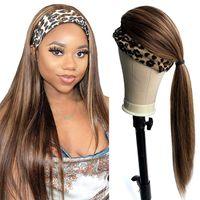 Ombre blonde met en évidence les cheveux de cheveux humains Perruques vierges brésiliennes cheveux vierges brun brun mélangé mélangé mélangé des stries blonde non en dentelle