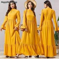 Vestuário étnica Womens Abaya Dubai Robe Islâmico Turco Manga Comprida Plissada Kaftan MULLIM MÉDIO EID Ramadã Árabe Vestidos Maxi Gown1