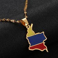 Collana d'avanguardia in acciaio inossidabile smalto Colombia Mappa sospensione della Colombia Bandiera Mappa dei monili della catena