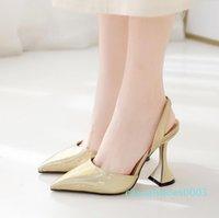 Hot Sale- sexy sivler goldsling back pointed pumps bridal wedding shoes designer high heels fashion luxury designer women shoes