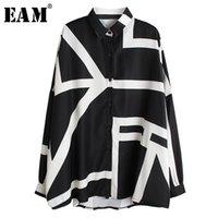 [EAM] Kadınlar Beyaz Desen Baskı Bölünmüş Büyük Boy Bluz Yeni Yaka Uzun Kollu Gevşek Fit Gömlek Moda İlkbahar Sonbahar LJ200812