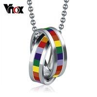 VNOX 10PCS / Lots en gros Colliers arc-en-ciel Pendentifs en acier inoxydable Prible gay bijoux chaîne libre Y1220