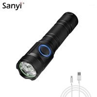 Flashlights Torches Poderoso 4 * P50 LED 5 Modos Tocha Tóxica Tocha Impermeável Pulso Pulso Luz de mão USB Carregamento 18650 18350 Light1