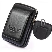 Genuine Leather Fanny del pacchetto della vita delle cellule cassa del telefono mobile la borsa dei soldi Men Belt Bum Pouch Bag Hook